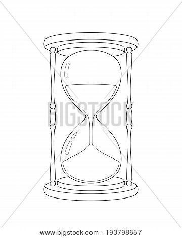 Vector realistic outline hourglass sketch on a white background