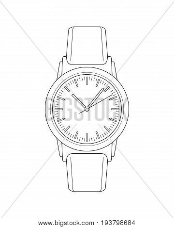 Vector realistic outline wristwatch sketch on a white background