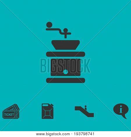 Coffee grinder icon flat. Simple vector symbol and bonus icon