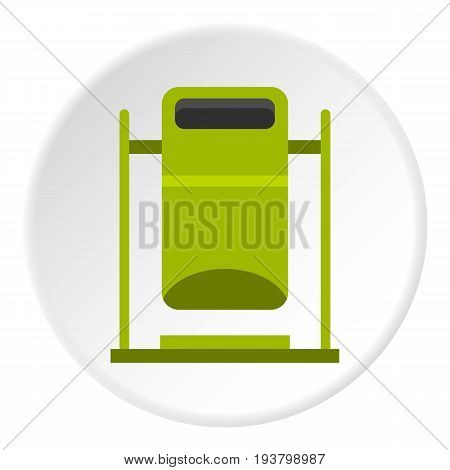 Swinging trashcan icon in flat circle isolated vector illustration for web