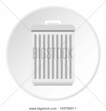 Trashcan icon in flat circle isolated vector illustration for web