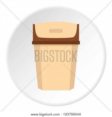 Big trashcan icon in flat circle isolated vector illustration for web