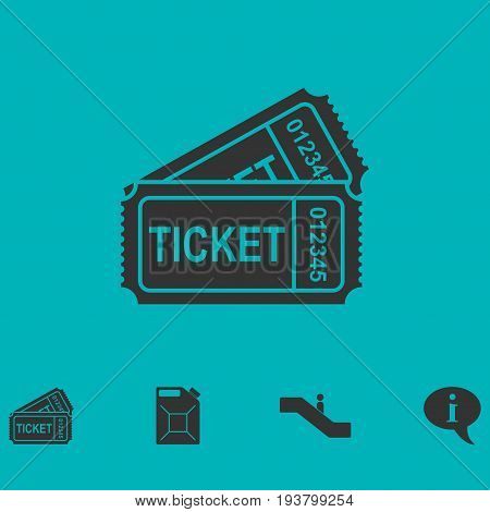 Ticket icon flat. Simple vector symbol and bonus icon