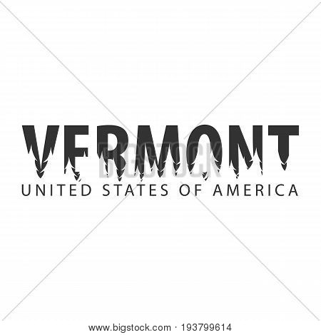 Vermont. Usa. United States Of America. Text Or Labels With Silhouette Of Forest.