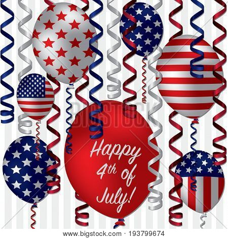 Happy 4th of July greeting card with ribbons and balloons
