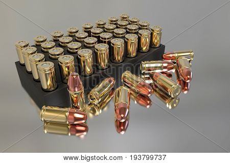 3d rendering. realistic bullet set with reflection on the floor.