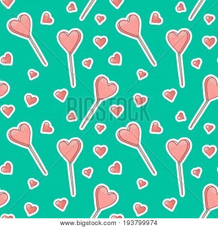 Vector seamless pattern background with stickers hearts and Popsicle. Pink textured ice cream or candy lollipops in the shape of a heart. Turquoise backdrop gift wrapping for declarations of love