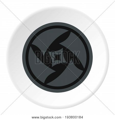 Covered objective icon in flat circle isolated vector illustration for web