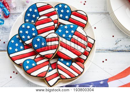 Cookies decorated for Independence Day Labor Day or Memorial Day