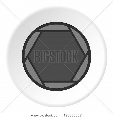 Closed objective icon in flat circle isolated vector illustration for web
