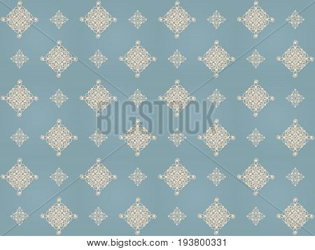 Elegant golden knot signs. Blue and beige pastel seamless pattern beautyful calligraphic flourish with pearls. Raster illustration.