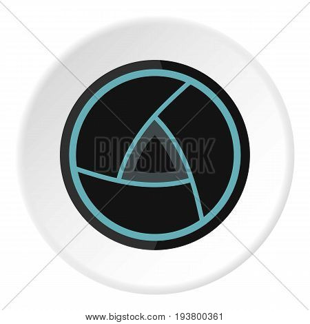 Objective icon in flat circle isolated vector illustration for web