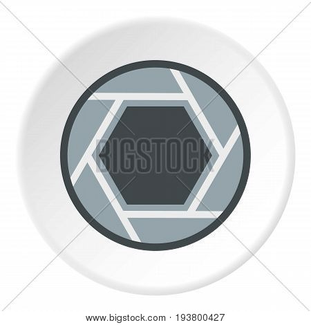 Close objective icon in flat circle isolated vector illustration for web