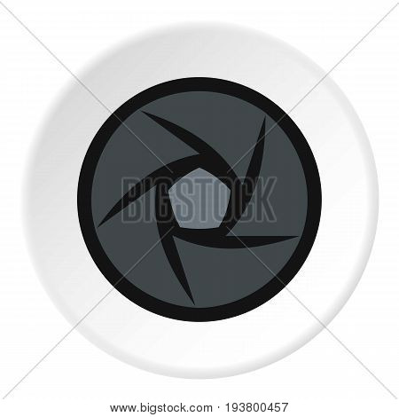 Video objective icon in flat circle isolated vector illustration for web