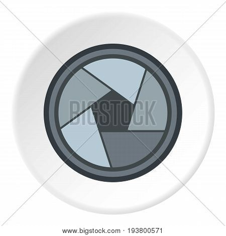 Photo objective icon in flat circle isolated vector illustration for web