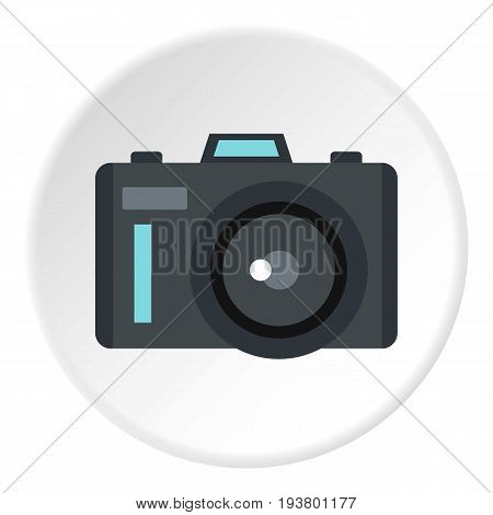 Photocamera icon in flat circle isolated vector illustration for web