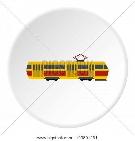 Tram icon in flat circle isolated vector illustration for web
