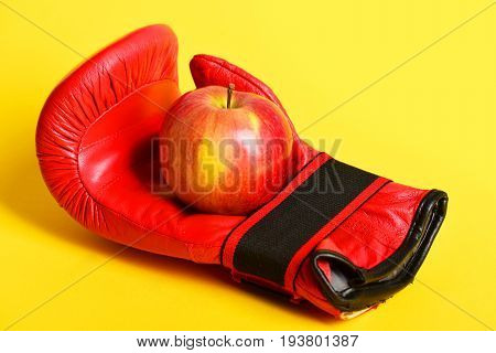 Pair Of Leather Boxing Sportswear With Juicy Apple. Sport Equipment
