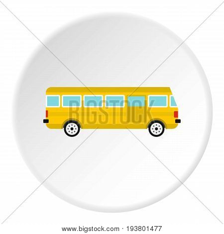 Bus icon in flat circle isolated vector illustration for web