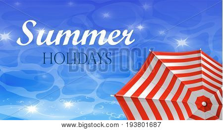 colorful umbrella and water top view banner vector illustration