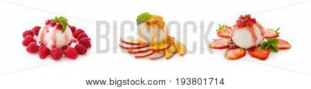 Three fruit ice cream with sauce and berry isolated on white background. Ice cream with strawberries, raspberries and peaches.