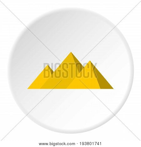 Egyptian Giza pyramids icon in flat circle isolated vector illustration for web