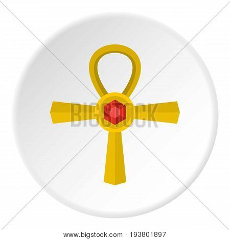 Golden Ankh symbol icon in flat circle isolated vector illustration for web