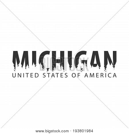 Michigan. Usa. United States Of America. Text Or Labels With Silhouette Of Forest.