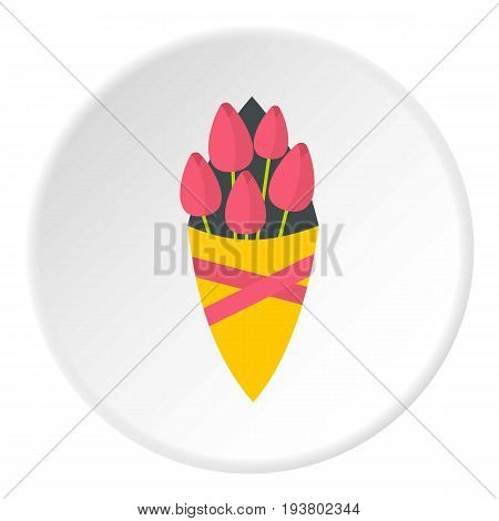 Bouquet of pink tulips icon in flat circle isolated vector illustration for web