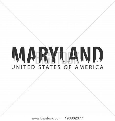 Maryland. Usa. United States Of America. Text Or Labels With Silhouette Of Forest.