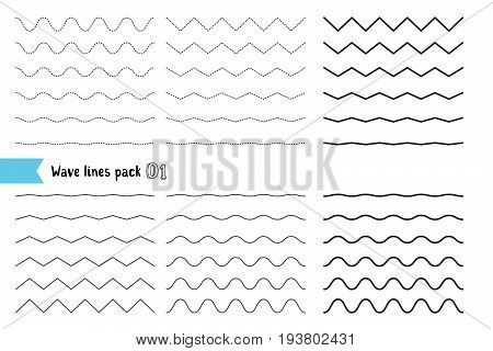 Vector Big Set Of Wavy - Curvy And Zigzag - Criss Cross Horizontal Lines. Collection Of Different Wa