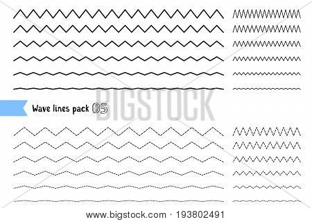Vector Collection Of Different Thin Line Wide And Narrow Wavy Line On White Background. Big Set Of W