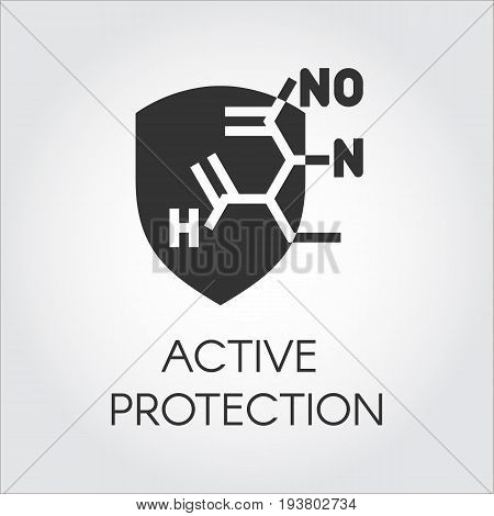 Black icon in flat style of abstract chemical formula. Label for concepts of science, research, biology, chemistry theme. Vector illustration for different projects