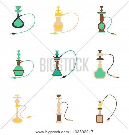 assembly of flat icons Eastern smoke hookah