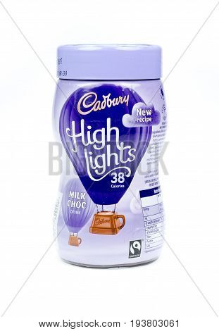 WREXHAM UK - MARCH 31 2017: Jar of Cadbury's Highlights instant Milk Choc chocolate drink 38 calories per cup. On a white background.