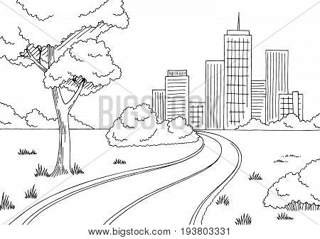 Road city graphic black white city landscape sketch illustration vector