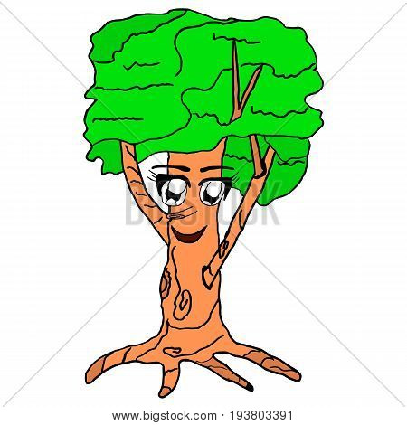 Oak looks up and smiles. The concept of a living tree. A child's drawing. Vector isolated image of the character. Print and web projects.