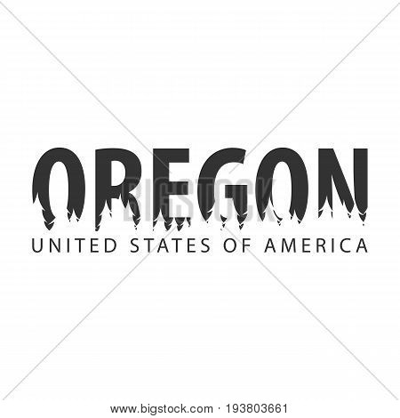 Oregon. Usa. United States Of America. Text Or Labels With Silhouette Of Forest.
