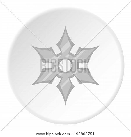 Shuriken weapon icon in flat circle isolated vector illustration for web