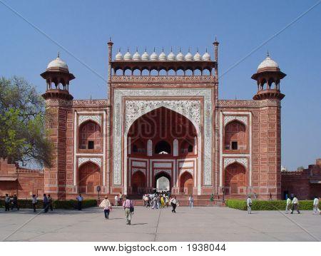 Gates At West Entrance To Taj Mahal Agra India