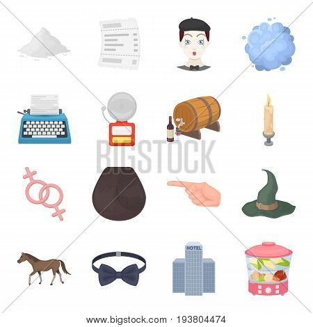 Travel, beauty, electrical appliance and other  icon in cartoon style.Animal, winemaking, food icons in set collection.