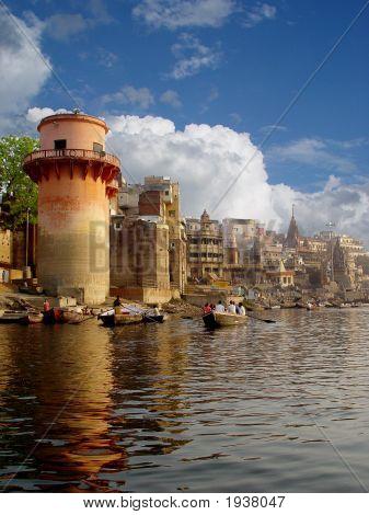 The River Ganga. The Saint City Varanasi. The Stone Step. The Boats.