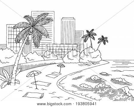 City beach graphic black white city landscape sketch illustration vector
