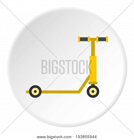 Scooter icon in flat circle isolated vector illustration for web