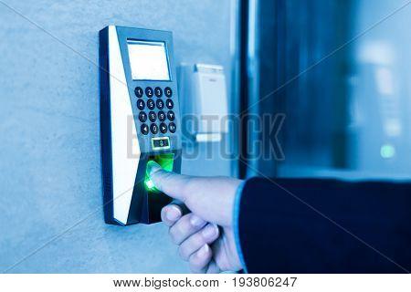 finger print scanner on wall