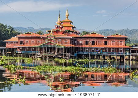 floating houses on the canal of the Inle Lake Shan state in Myanmar (Burma)