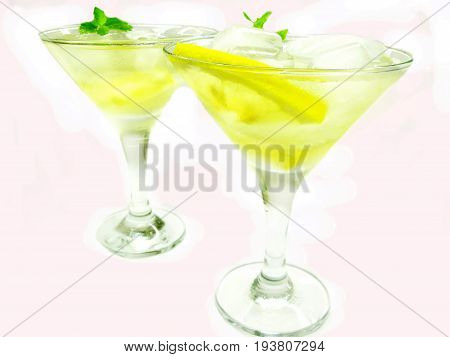 two alcohol yellow liqueur cocktails with ice and lemon