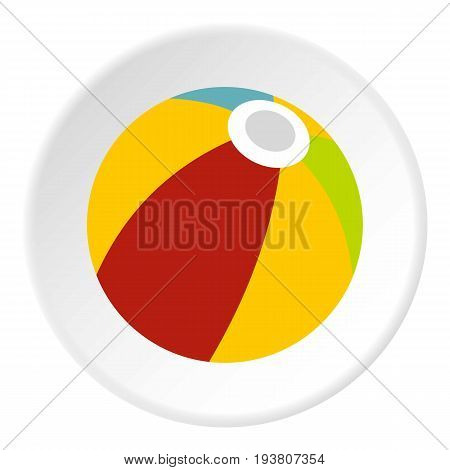 Colorful ball icon in flat circle isolated vector illustration for web