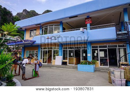 Main Building At El Nido Jetty In Philippines