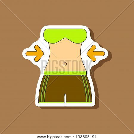 paper sticker on stylish background Woman body diet